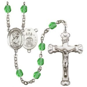 St Christopher-Air Force Rosary - Peridot Beads (#R15457)