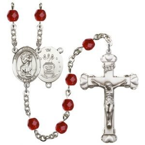 St Christopher-Air Force Rosary - Ruby Beads (#R15459)