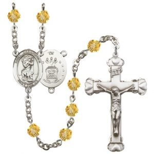 St Christopher Air Force Rosary Topaz Beads R15461