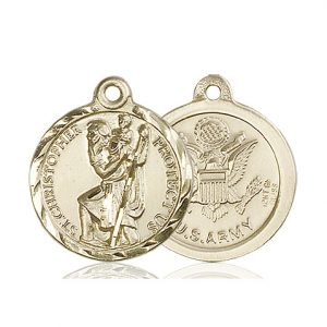St Christopher Army Pendant 14 Kt Gold 89679