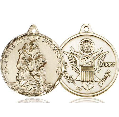 St Christopher Army Pendant 14 Kt Gold 89735