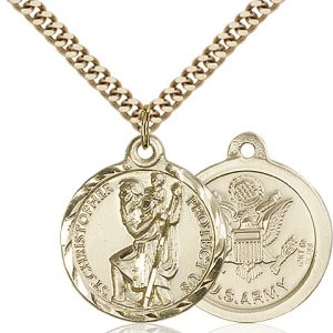 St Christopher Army Pendant Gold Filled 89672
