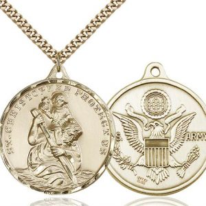 St Christopher Army Pendant Gold Filled 89729