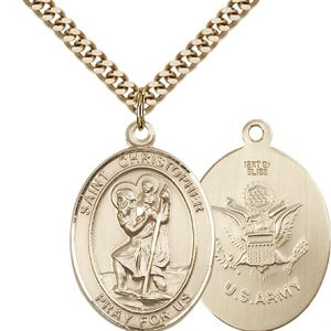 St Christopher Army Pendant Gold Filled 90149