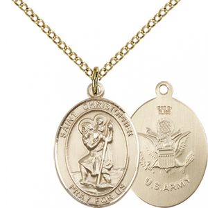 St Christopher Army Pendant Gold Filled 90257