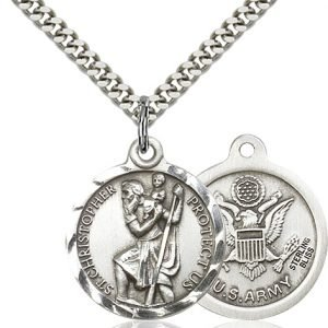 St Christopher Army Pendant Sterling Silver 89686