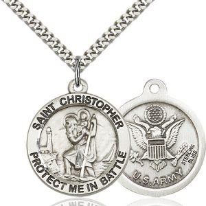St Christopher Army Pendant Sterling Silver 89903