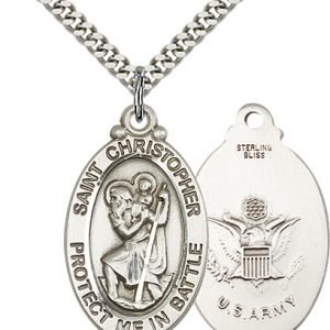 St Christopher Army Pendant Sterling Silver 89909
