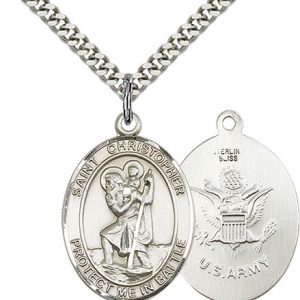 St Christopher Army Pendant Sterling Silver 89923