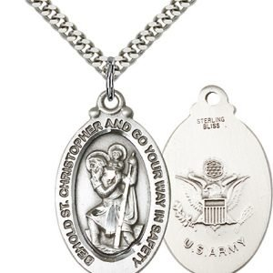 St Christopher Army Pendant Sterling Silver 90077