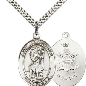 St Christopher Army Pendant Sterling Silver 90163
