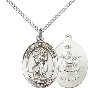 St Christopher Army Pendant Sterling Silver 90271