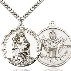 St Christopher Army Pendant Xl Sterling Silver 89741