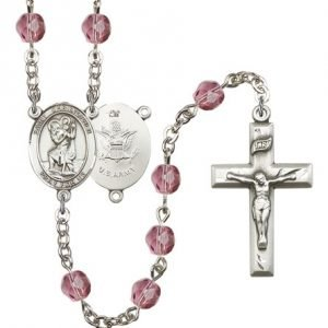 St Christopher Army Rosary Amethyst Beads R15501