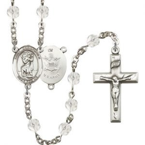 St Christopher-Army Rosary - Crystal Beads (#R15503)