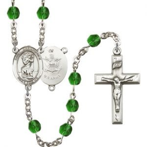 St Christopher Army Rosary Emerald Beads R15504