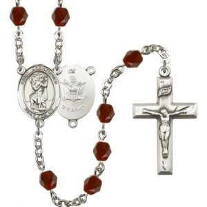 St Christopher-Army Rosary - Garnet Beads (#R15505)