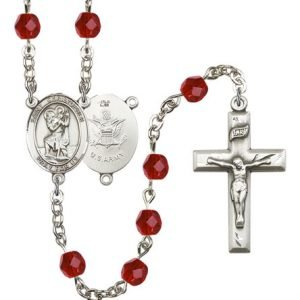 St Christopher-Army Rosary - Ruby Beads (#R15509)