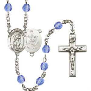 St Christopher Army Rosary Saphire Beads R15510