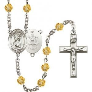 St Christopher Army Rosary Topaz Beads R15511