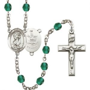 St Christopher-Army Rosary - Zircon Beads (#R15512)