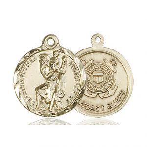 St Christopher Coast Guard Pendant 14 Kt Gold 89680