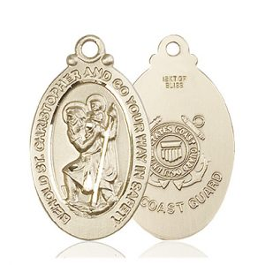 St Christopher Coast Guard Pendant 14 Kt Gold 90054