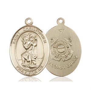 St Christopher Coast Guard Pendant 14 Kt Gold 90157