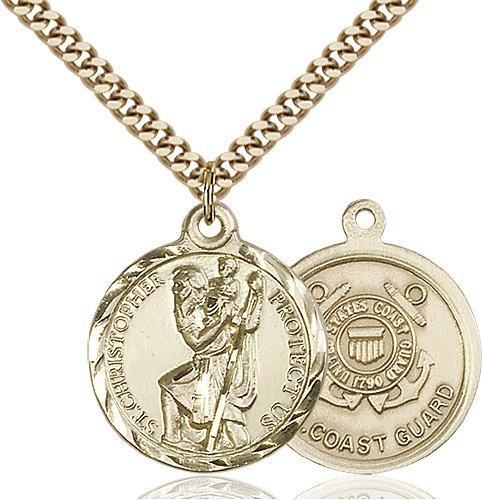 St Christopher Coast Guard Pendant Gold Filled 89673