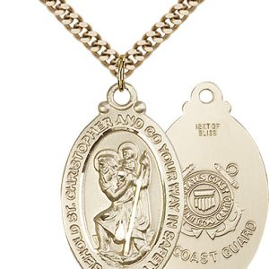 St Christopher Coast Guard Pendant Gold Filled 90048