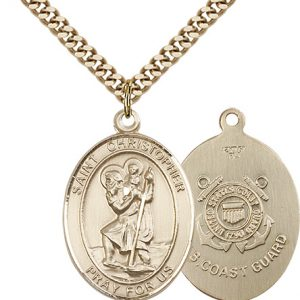 St Christopher Coast Guard Pendant Gold Filled 90150