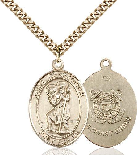 St Christopher Coast Guard Pendant Gold Filled 90150