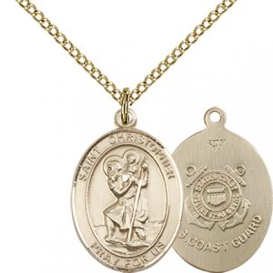St Christopher Coast Guard Pendant Gold Filled 90258
