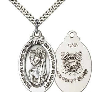 St Christopher Coast Guard Pendant Sterling Silver 90078