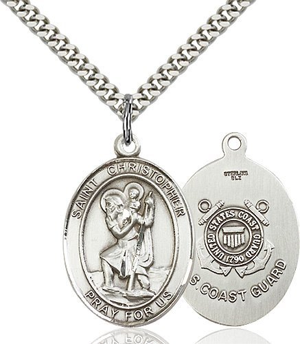 St Christopher Coast Guard Pendant Sterling Silver 90164