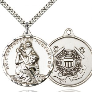 St Christopher Coast Guard Pendant Xl Sterling Silver 89742
