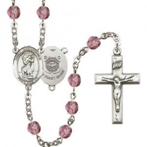 St Christopher Coast Guard Rosary Amethyst Beads R15532