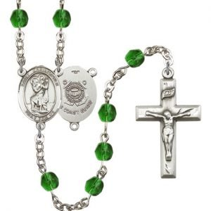 St Christopher Coast Guard Rosary Emerald Beads R15535