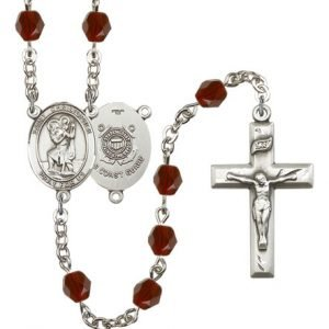 St Christopher Coast Guard Rosary Garnet Beads R15536