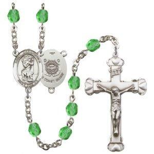 St Christopher-Coast Guard Rosary - Peridot Beads (#R15550)