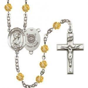 St Christopher Coast Guard Rosary Topaz Beads R15542