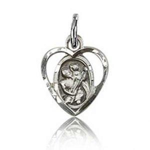 St Christopher Heart Shaped Tiny Charm Sterling Silver 84440