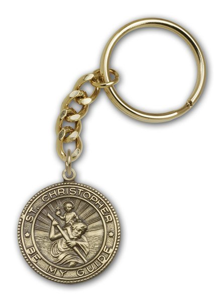 St Christopher Keychain Antique Gold 86536