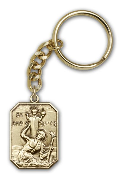 St Christopher Keychain Antique Gold (#86554)