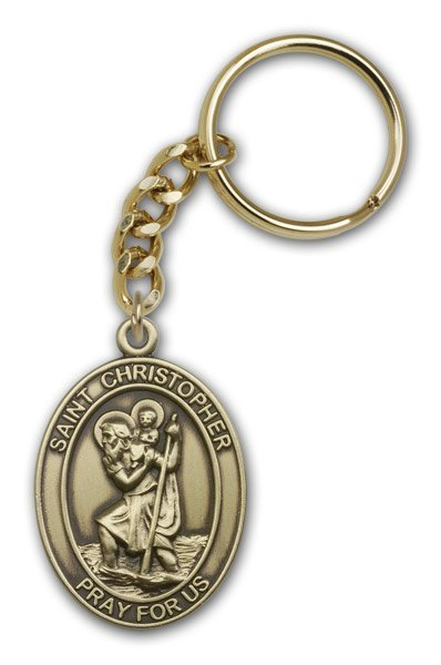 St Christopher Keychain Antique Gold 86646