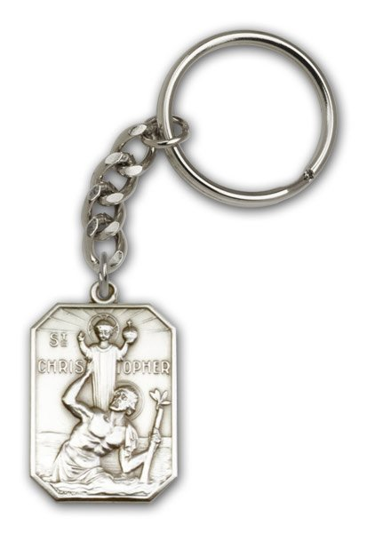 St Christopher Keychain Antique Silver 86555