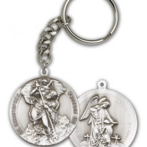 St Christopher Keychain Antique Silver (#86587)