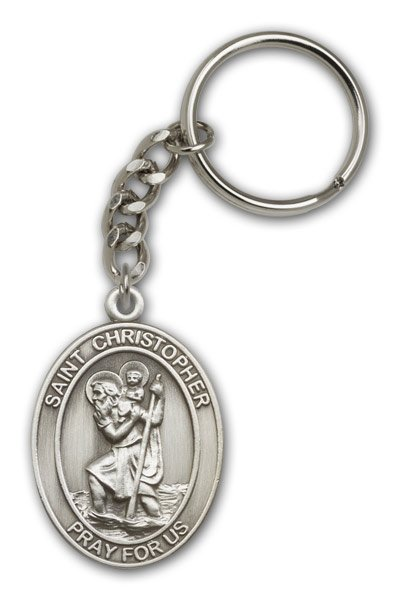 St Christopher Keychain Antique Silver 86647