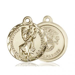 St Christopher Marines Pendant 14 Kt Gold 89681