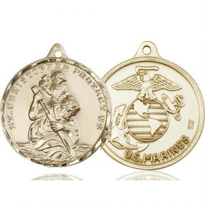 St Christopher Marines Pendant 14 Kt Gold 89737